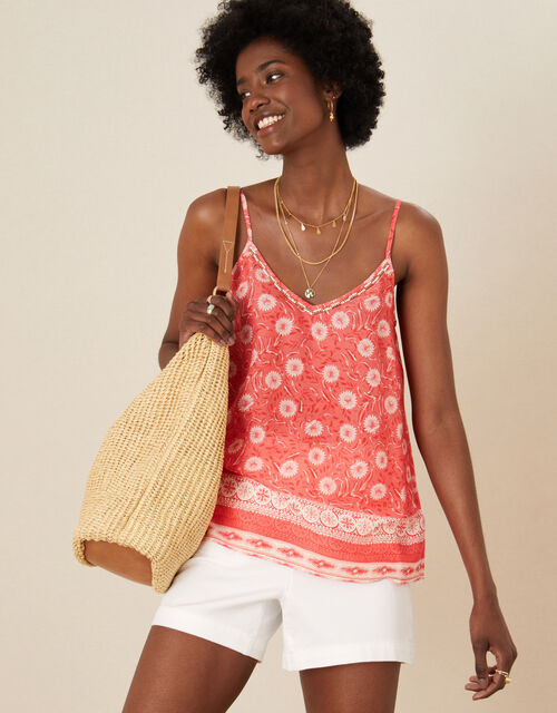 Andora Printed Cami in LENZING™ ECOVERO™, Red (RED), large