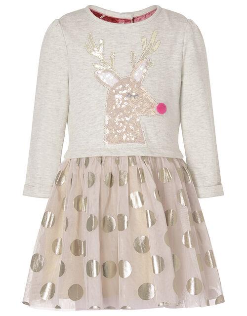 XMAS Baby Sequin Reindeer Disco Dress, Pink (PINK), large