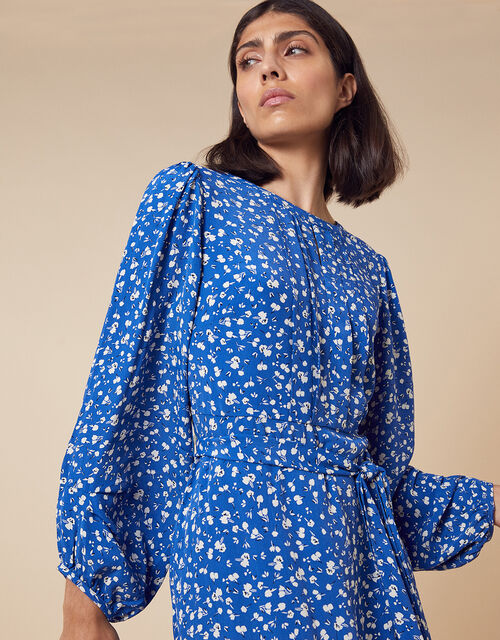Marty Floral Print Dress in Sustainable Viscose, Blue (BLUE), large
