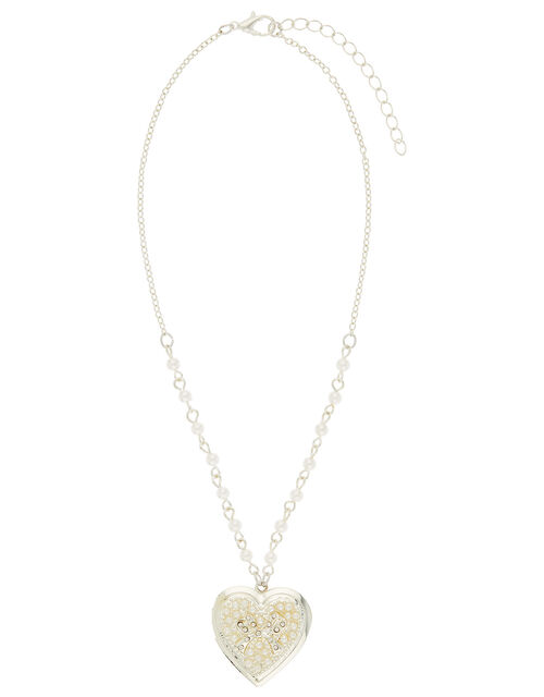 Carly Pearl and Diamante Heart Locket Necklace, , large