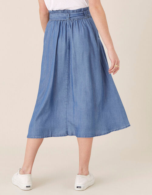 Belted Midi Skirt in LENZING™ TENCEL™, Blue (DENIM BLUE), large
