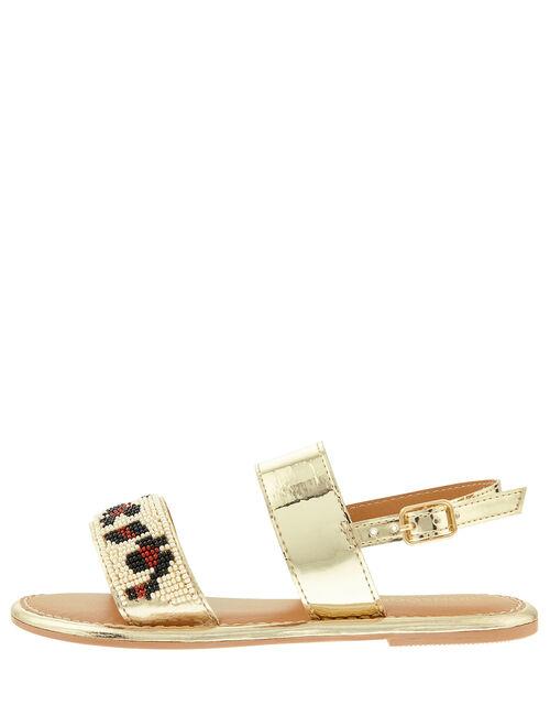 Zadie Beaded Metallic Sandals, Gold (GOLD), large