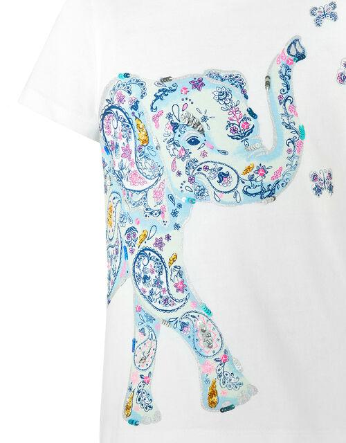 Eliza Elephant Sequin T-Shirt in Organic Cotton, Ivory (IVORY), large