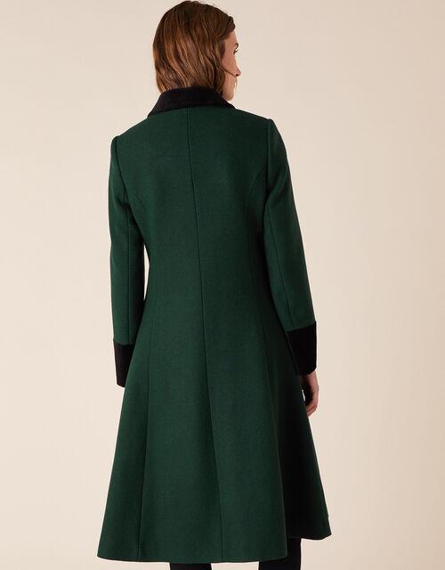 Opera Skirted Coat in Wool Blend, Green (GREEN), large