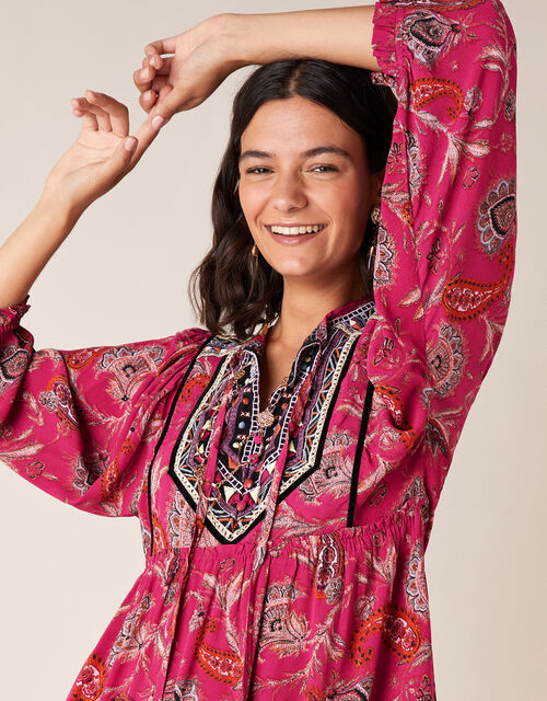 Paisley Print Tiered Dress in Sustainable Viscose, Pink (PINK), large