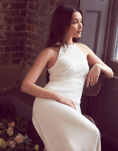 Madison Embroidered Halter Bridal Dress Ivory, Ivory (IVORY), large