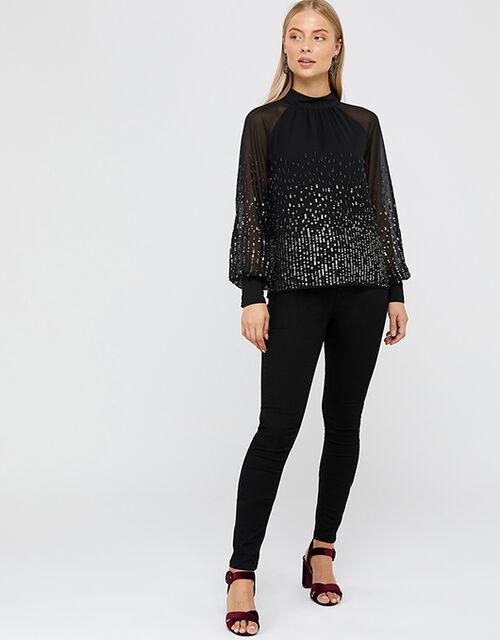 Leah Sequin Blouse, Black (BLACK), large
