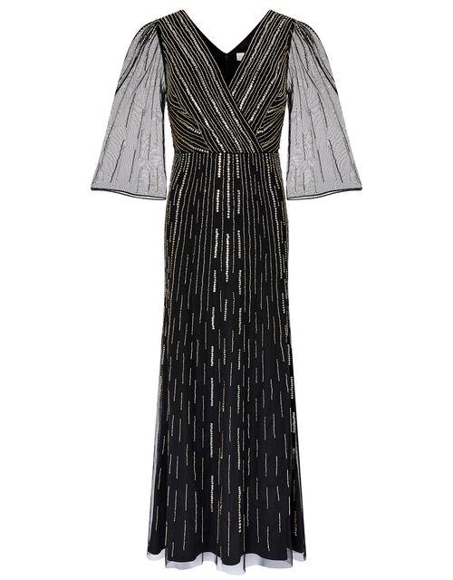 Lizzie Linear Embellished Maxi Dress, Black, large