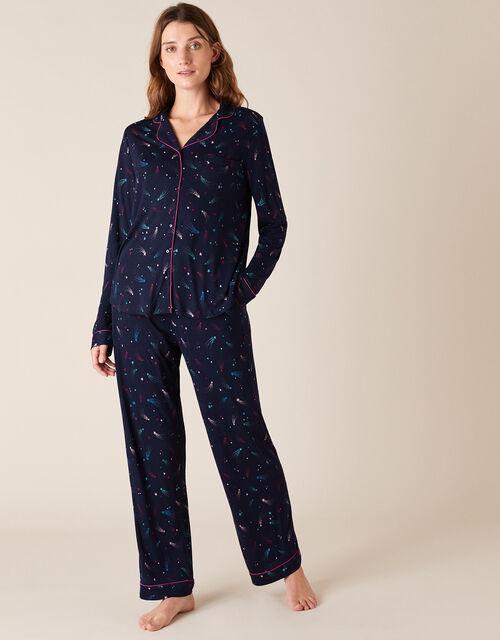 Shooting Star Print Pyjama Set, Blue (NAVY), large
