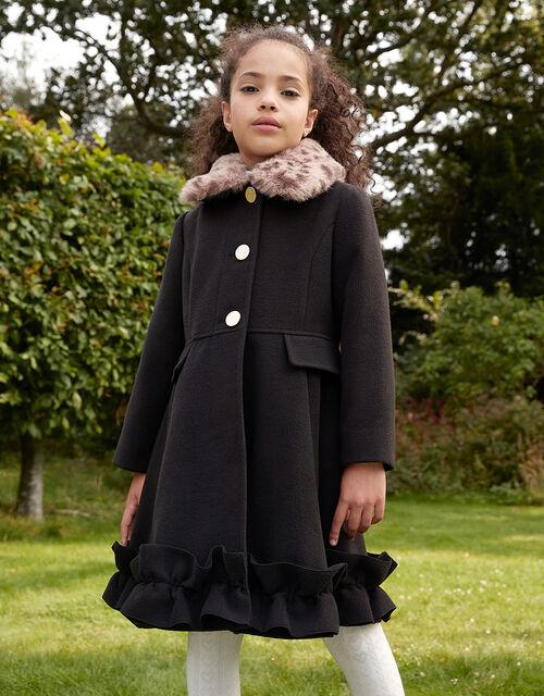Leopard Print Collar Ruffle Hem Coat , Black (BLACK), large