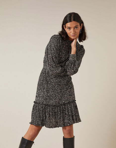 Printed Jersey Plisse Tiered Short Dress Black, Black (BLACK), large