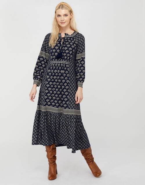 Heshna Printed Midi Dress with Linen and Organic Cotton, Blue (NAVY), large