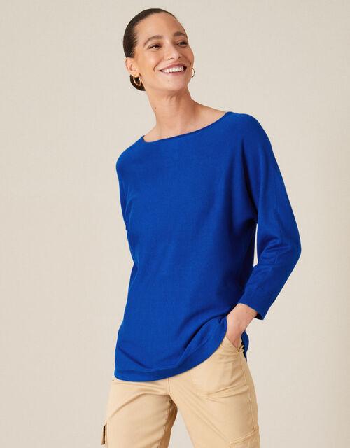 Zeena Zip Back Jumper, Blue (BLUE), large
