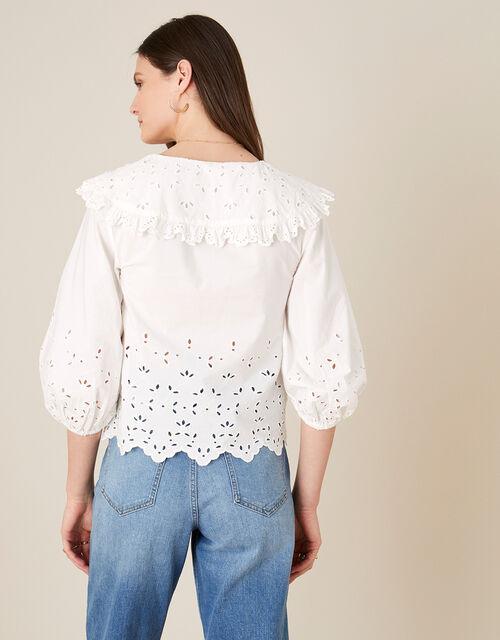 ARTISAN STUDIO Poplin Statement Collar Blouse , White (WHITE), large