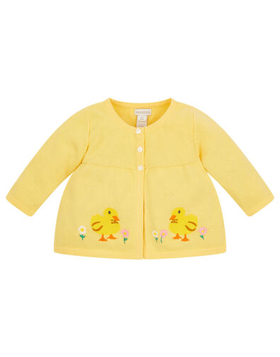 Newborn Embroidered Chick Cardigan Yellow, Yellow (YELLOW), large
