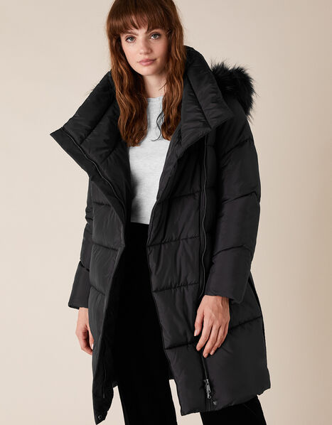 Patsy Long Padded Coat in Recycled Fabric Black, Black (BLACK), large