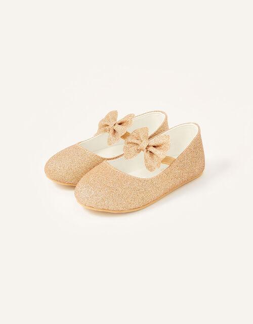Glitter Bow Walker Shoes , Gold (ROSE GOLD), large
