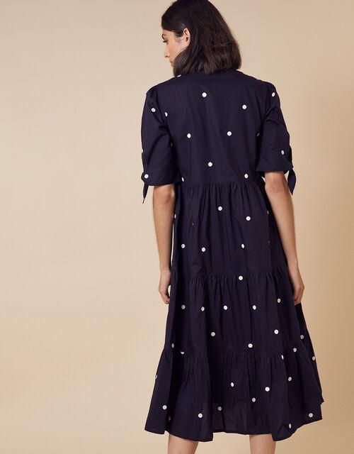 Spot Print Poplin Dress in Organic Cotton, Blue (NAVY), large
