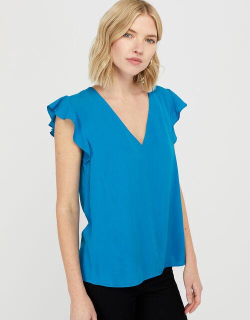 Nessa Short Sleeve Blouse in LENZING™ ECOVERO™, Blue (BLUE), large