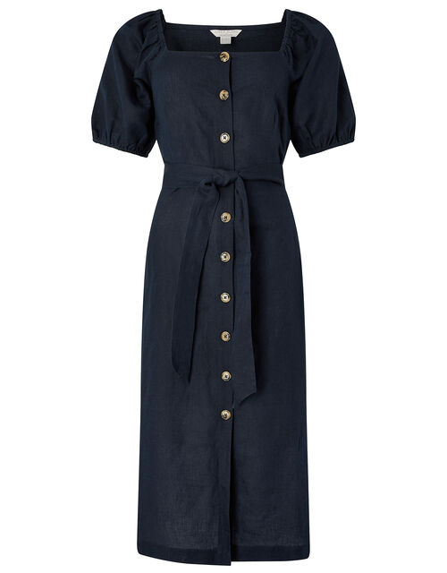 Tina Midi Dress in Linen and Organic Cotton, Blue (NAVY), large