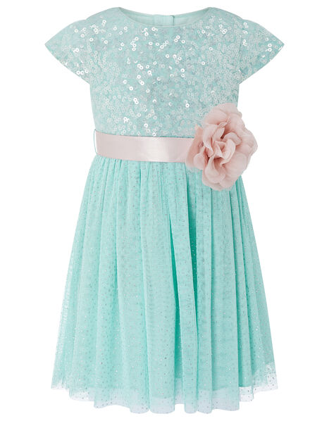 Baby Corsage Sequin Dress Teal, Teal (DUCK EGG), large