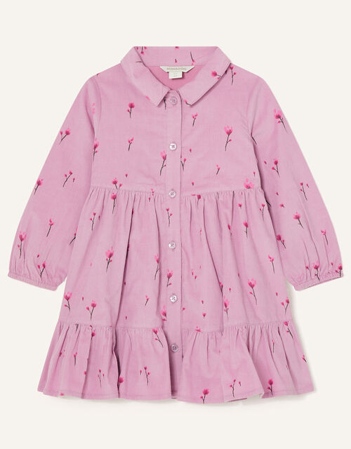 Baby Floral Cord Shirt Dress, Purple (LILAC), large