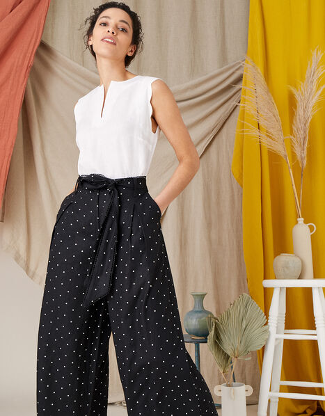 Pindot Scallop Crop Trousers Black, Black (BLACK), large
