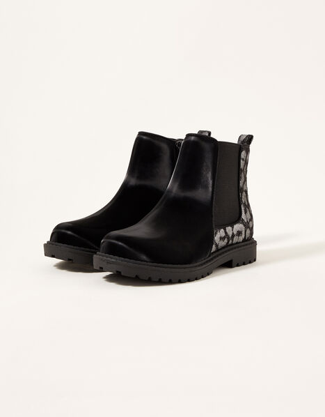 Metallic Animal Chelsea Boots Black, Black (BLACK), large