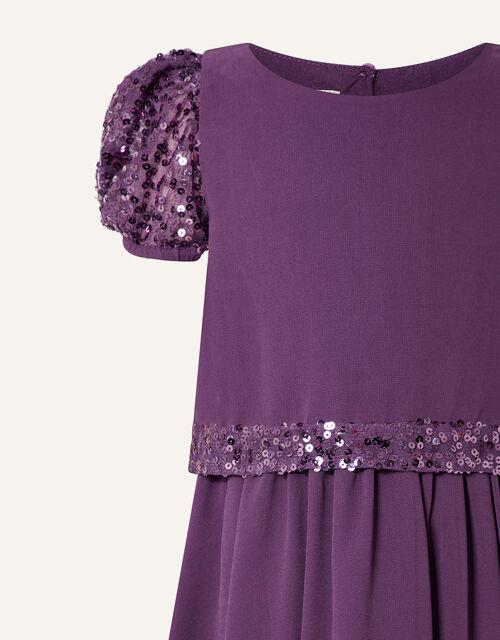 Sequin Trim Dress, Purple (PURPLE), large