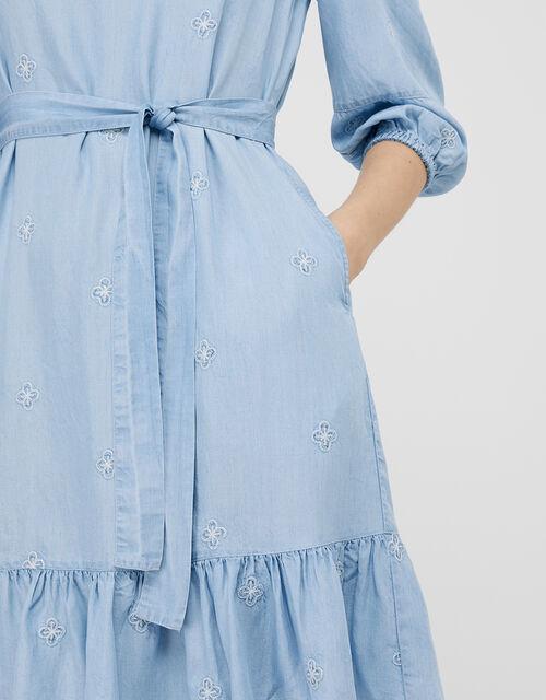 Evie Floral Embroidery Dress in LENZING™ TENCEL™, Blue (DENIM BLUE), large