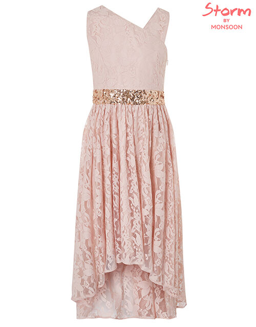 Abigail One-Shoulder Lace Dress with Sequins, Pink (PINK), large