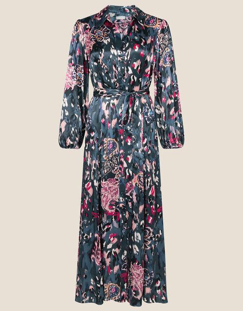 Satin Animal Print Shirt Dress, Grey (CHARCOAL), large