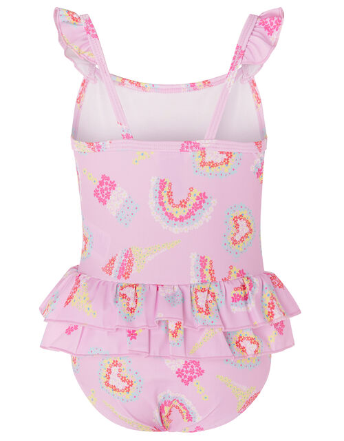 Baby Rainbow Frill Swimsuit , Pink (PALE PINK), large