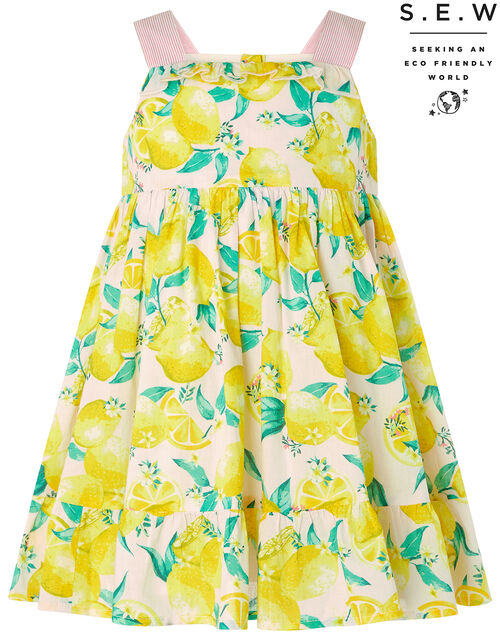 Newborn Baby Leonie Lemon Dress in Organic Cotton, Pink (PINK), large