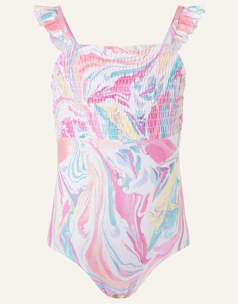 Marble Print Shirred Swimsuit Pink, Pink (PINK), large
