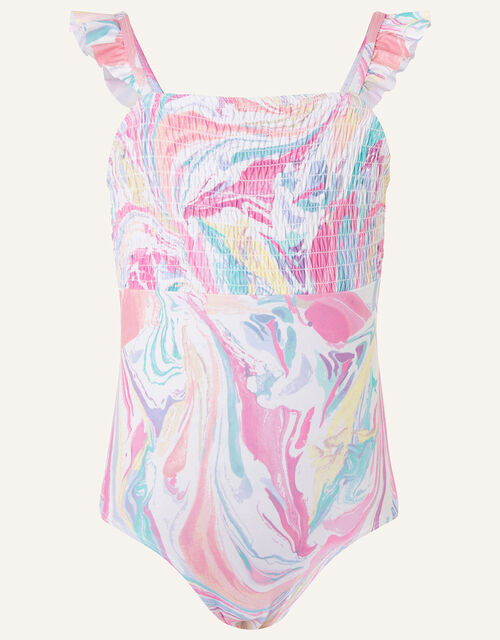 Marble Print Shirred Swimsuit, Pink (PINK), large