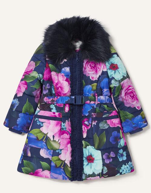 Rose Print Padded Coat, Blue (BLUE), large
