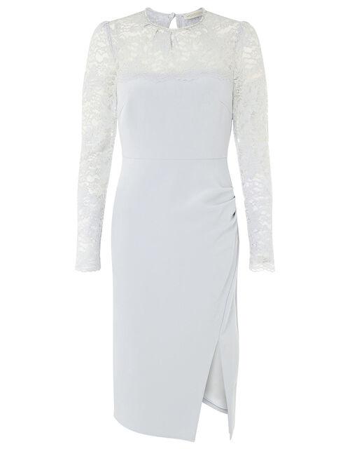 Carey Lace Panel Shift Dress, Grey (GREY), large