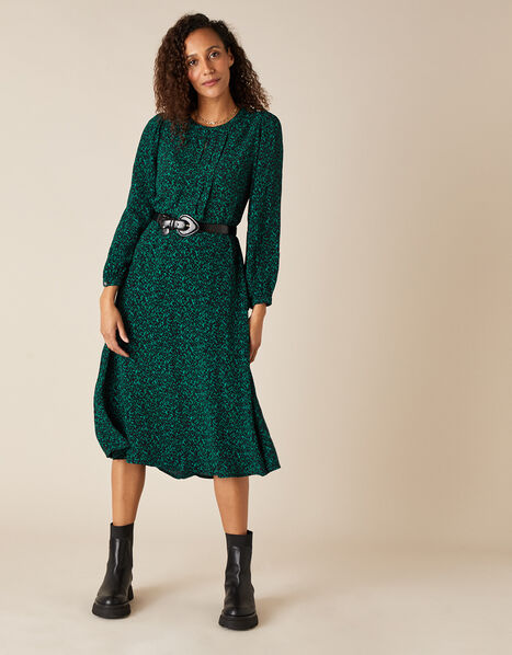 Animal Print Midi Dress in LENZING™ ECOVERO™ Green, Green (DARK GREEN), large