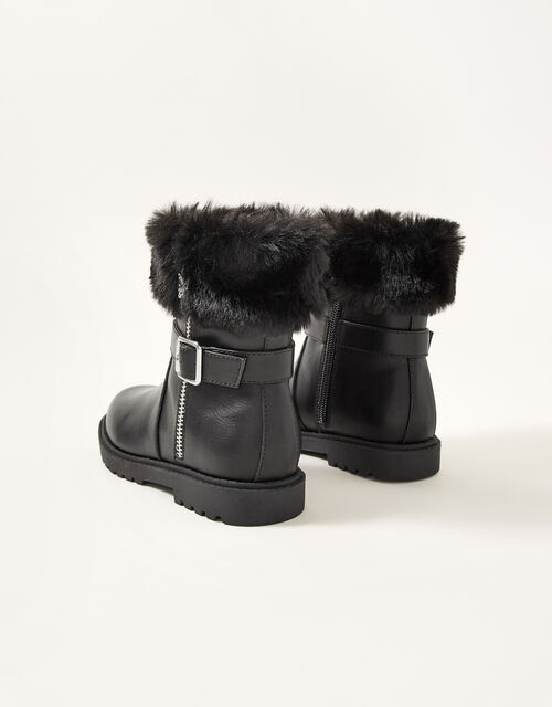 Fur Trim Butterfly Zip Boots, Black (BLACK), large