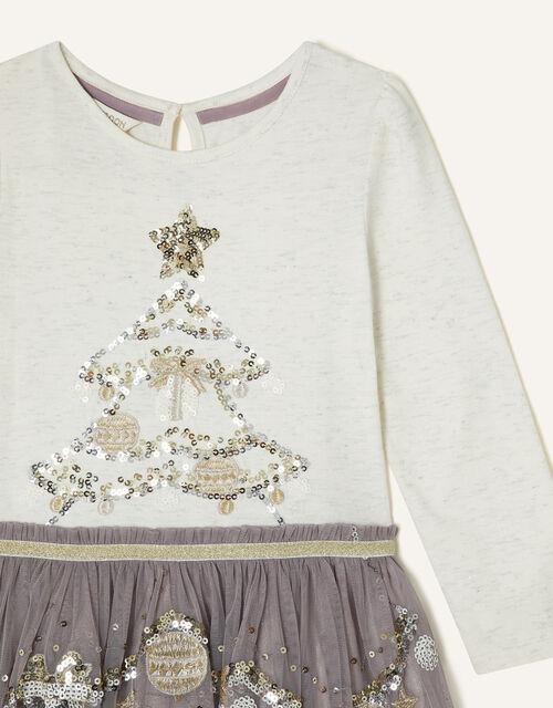 Christmas Tree Disco Dress, Grey (GREY), large