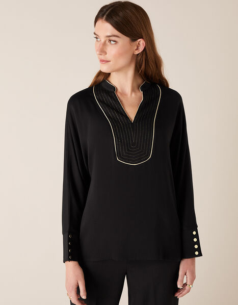 Metallic Bib Long Sleeve Top with LENZING™ ECOVERO™ Black, Black (BLACK), large