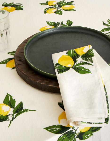 Lemon Print Reusable Napkin Set, , large