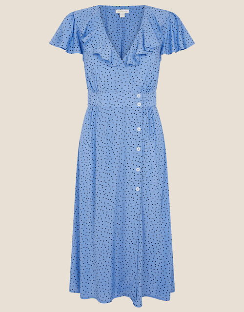Spot Print Frill Dress, Blue (BLUE), large