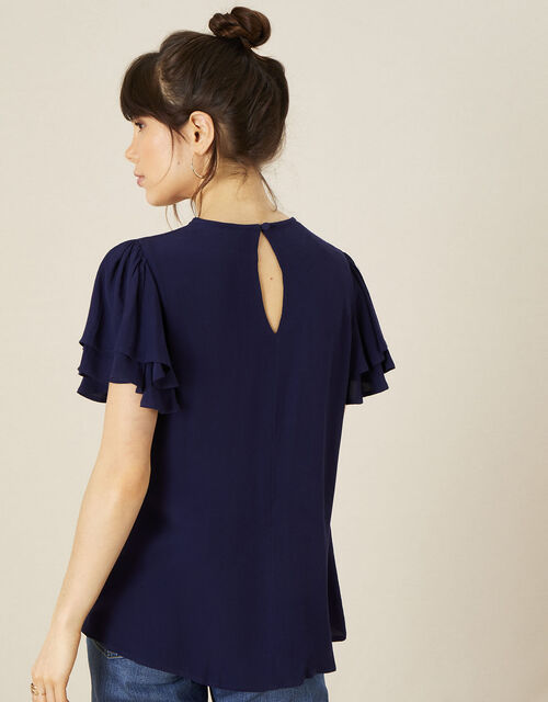 Floral Embroidered Top, Blue (NAVY), large