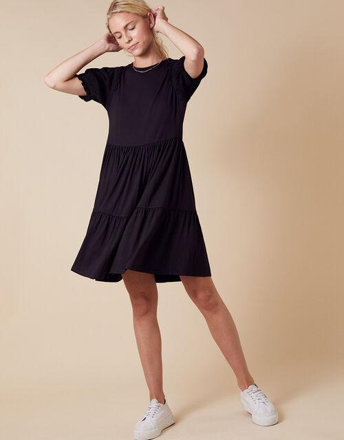 Woven Sleeve Smock Dress with LENZING™ ECOVERO™, Black (BLACK), large