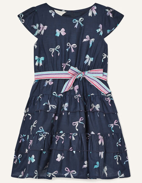 Foil Bow Print Dress with Recycled Polyester Blue, Blue (NAVY), large