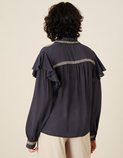 Victorian Embroidered Blouse, Grey (CHARCOAL), large