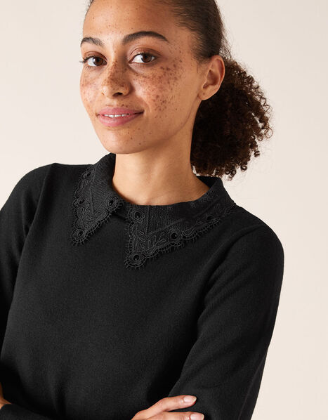 Lace Collar Jumper with Recycled Fabric Black, Black (BLACK), large