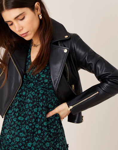 Leather Biker Jacket  Black, Black (BLACK), large